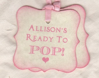 Baby Tags Ready To Pop Tags Personalized Baby Shower Tags Pink Baby Shower Favor Tags Baby Favor Tags - Set of 20