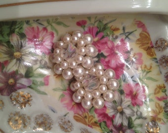 Japanese made pearl and rhinestone cluster clip on earrings