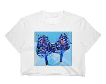 Butterfly n Heels Crop Top -White, Black
