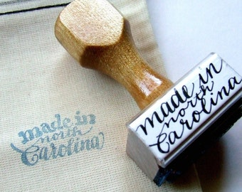 Made in North Carolina, Rubber Stamp, Modern Calligraphy Stamp, Made in Your State, Hand Lettering, Shop Branding, Label Stamp