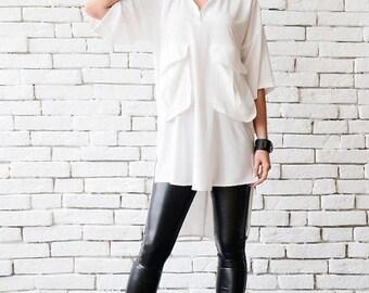 SALE White Plus Size Shirt/Extravagant Asymmetric Tunic/Half Sleeve Oversize Long Top/White Maxi Tunic/Comfortable Work Shirt/Half Sleeve To