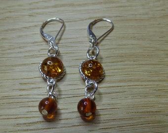 Baltic Amber Earrings.   Sterling Silver Earrings.