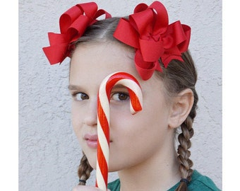 """Girls Hair Bows Red Boutique 3"""" Double Layer Hairbows Set of 2 Pigtail Bows Red Pigtail Bows Red Hair Bows"""