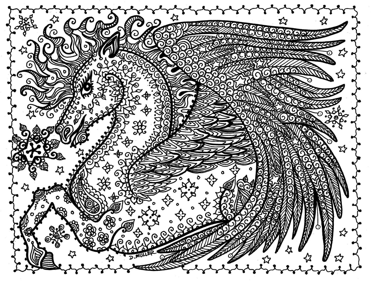 Instant Download Pegasus Coloring page You be the