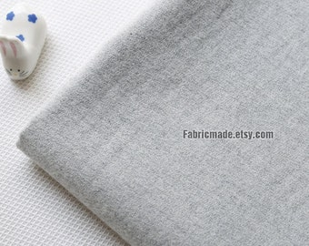 Heavy Solid Grey Gray Cotton Fabric Brushed- 1/2 Yard