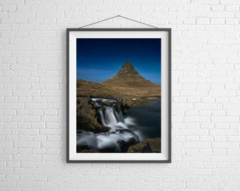 Fine Art Photography Print - Travel, Landscape, Night - Waterfalls at Church Mountain - Kirkjufell, Iceland