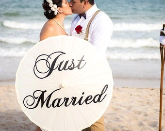 Wedding Just Married Parasol Wedding Umbrella Photography Prop Ivory White Parasol Just Married Custom Ceremony Decor