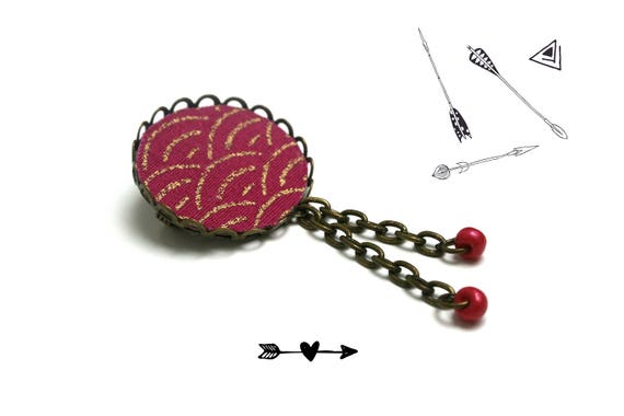 Fabric textile brooch Japanese seigaiha motif, pendants bronze chain