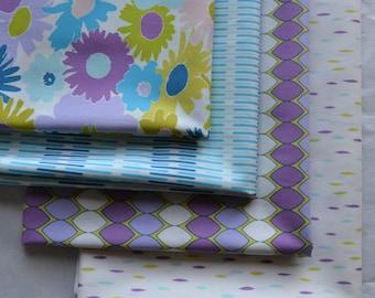 Purple Fabric, Fat Quarter Bundle, Art Gallery Fabrics, Green, Blue, White, Sewing Material, Aqua Fabric, Flower Fabric, Geometric Fabric