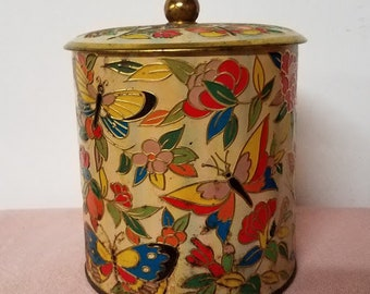 """Vintage Tin Designed By Daher Container Made In England """"Butterfly"""""""