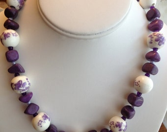 Lavender Floral and Stone Necklace.