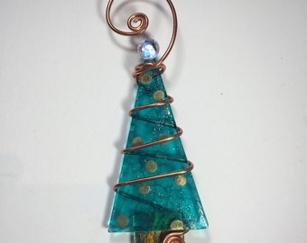 Turquoise with Gold Foil Ornaments Christmas Tree