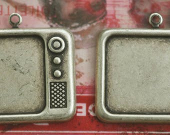 TWO Vintage TV brass charms, Brass Ox, Brass Stampings and Charms Made in the USA