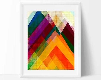8 x 10 print, circles, bright colors, geometric print, modern painting, mid century art, abstract art, modern art, illustration art, rainbow