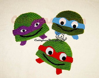 NinJa Turtle Hat, 6 Sizes Baby-Teenage, INSTANT DOWNLOAD Crochet Pattern