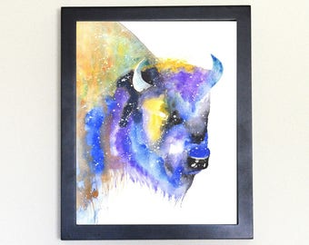 Bison Galaxy Spirit Totem Animal Art Print Watercolor 8x10