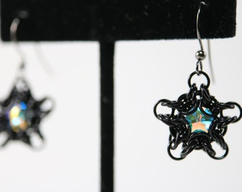 Black Chainmaille and Captured Swarovski Crystal Star Earrings (Crystal AB)