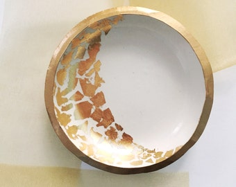 GOLD LEAF CRESCENT // Handmade Polymer Clay Jewelry Dish, Ring Dish, Trinket Dish, Ring Holder