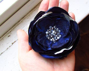 Ivory Navy Silk Fabric Flower Hair Piece, Sash Belt Dress Pin, Wedding Navy Blue Hair Clip Large Brooch, Crystal Beading, Silver, Pearl bead