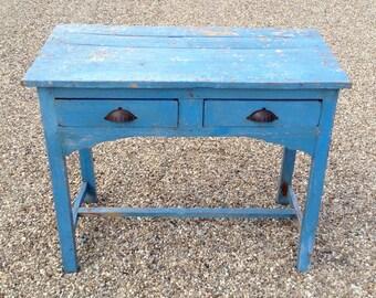Vintage Indian Blue Wooden Table