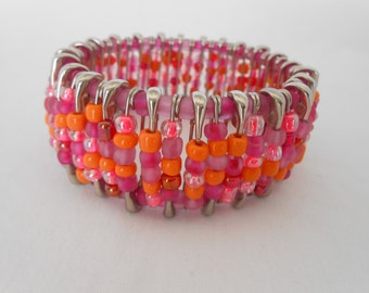 Safety Pin Beadeed Bracelet PinkOrage