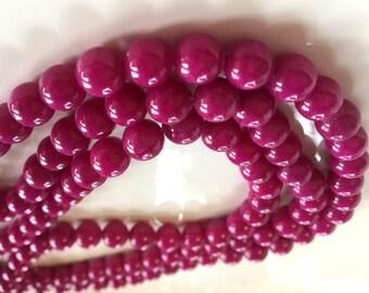 8mm Mashan JADE Beads in Fuschia, Dark Pink, Round, Smooth, Approx. Shiny, 50 Pcs, Full Strand, Dyed, Candy Jade, Mountain Jade