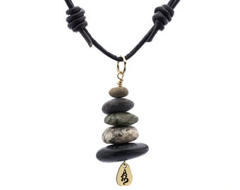 Gold Beach Stone Stack Cairn One-of-a-kind Necklace
