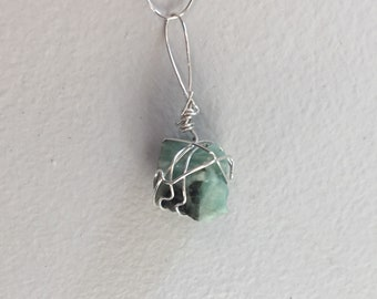 Small Cube Shaped Wire Wrapped Chalcedony Pendant / Boho Jewelry / One of a Kind / Gift Under 5 / For Her / Mothers Day / Bridesmaid Gift