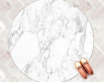 Carrara Marble Rug / Kitchen Rug / Round Rug / Minimalist Modern Rug / Decorative Floor Rug Kitchen Mat / Linoleum Rug / White Carpet