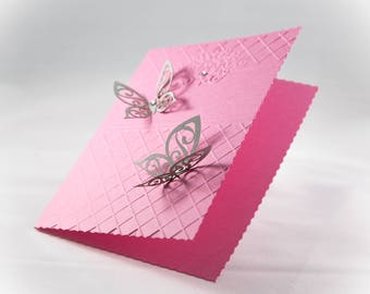 Quinceañera Embossed Cards,Sweet 16 Cards, Set of 10, Laser cut, Butterflies, Quinceañera Cards, It's a girl card