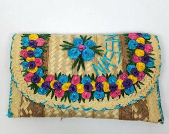 Wicker clutch - handmade envelope clutch - floral flowers - purse handbag