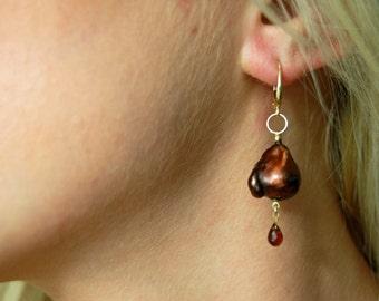 Alaulia - nucleated pearl earrings, OOAK pearl earrings, dangle earrings, baroque pearls, garnet earrings, unique earrings, for her, jewelry
