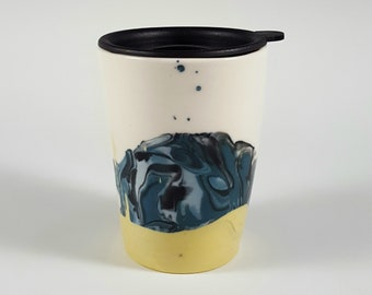 Marbled Travel Mug with Ocean Waves Design and Lid