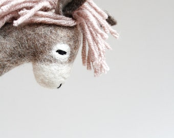 Felt Donkey - Rosalinda. Art Toy. Felted Toys. Felt Toy. Soft Stuffed Animal Baby Toy Plush Toy, Baby Shower Gift, Plushie. gray pale pink.