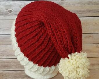Santa Hat, Santa Beanie Hat, Winter Hat, Knit Santa Hat, Christmas Hat, Christmas Beanie Hat, Slouchy Santa Hat, Knitted Santa Hat, Knit Hat