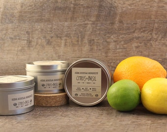 Citrus Basil - Soy Candle - Handmade - 6.5 oz. - Tin Container - Wood Wick - Citrus Basil Scented Candle - Citrus Basil Soy Candle