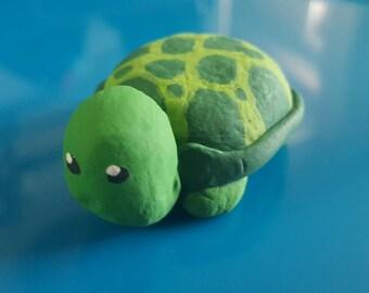 Cute turtle figurine, clay figure, animal clay figure, turtle model, acrylic paint