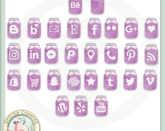 Social Media Icons MASON JAR PURPLE