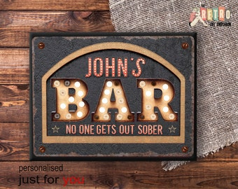Home Bar Sign, Bar Plaque, Retro Style, Custom Bar Sign, Home Bar