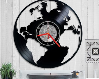 Globe clock etsy world map vinyl clock wall clock world map clock vinyl clock globe gumiabroncs Image collections