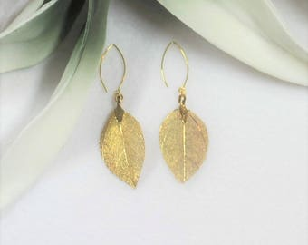 Leaf Earrings, Filigree Leaf Earrings, Gold and Silver Leaf Earrings