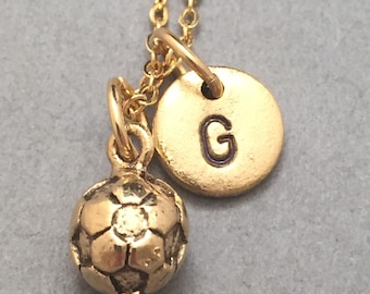 Soccer necklace, soccer charm, sports necklace, personalized necklace, initial charm, monogram, sports charm, soccer ball necklace