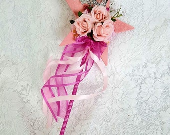 Flower Girl Floral Wand -  Pink Star Wand with Butterflies for Flowergirl, Wedding Flowers for Flowergirl