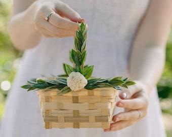 Mini Square Flower Girl Basket | Wicker Basket | Flower Girl | Bamboo Baskets | Square Basket | Card Basket | Gift Basket
