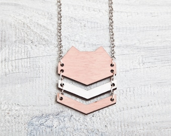 Wood Cat Necklace Pink Cats pendant Tribal jewellery Valentine's Day Gift Big Necklace Cute Pink Necklace Woodland Charm