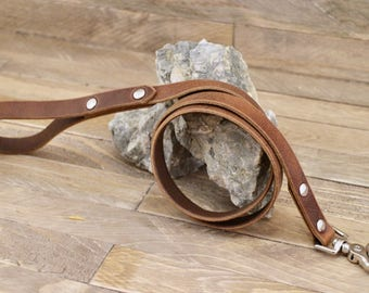 Dog leash, Cowboy brown leather dog leash, Pet gift, Strong leash, Leather leash, Pet leash, Leash for walks.