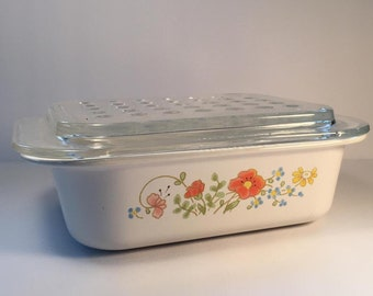 Vintage Corningware Wildflowerdish with Bubble lid