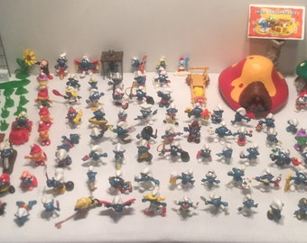 Huge Lot of 1965-1982 80+ Smurf Figurines Schleich With Tons of Accessories FREE SHIPPING