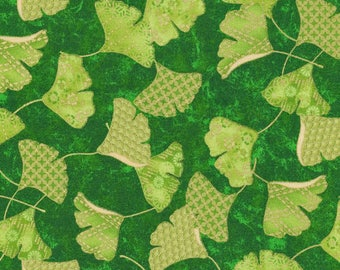 """In stock New Floral Fabric: Paintbrush Studio Flights of Fancy Ginko Green 100% Cotton Fabric by the yard 36""""x43"""" FQ262"""