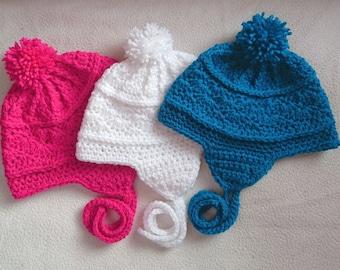 Baby ski hat, crochet baby hat, baby hat, baby earflap hat, baby winter hat, 3-6 months, pom pom hat, crochet baby beanie, baby shower gifts